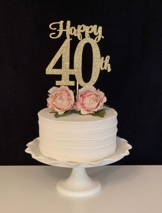 Stupendous Happy 40Th Birthday Cake Topperhappy 40Th Anniversary Cake Etsy Funny Birthday Cards Online Elaedamsfinfo