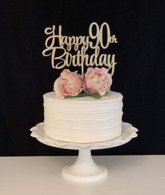 Peachy Happy 90Th Birthday Cake Topper Etsy Personalised Birthday Cards Veneteletsinfo