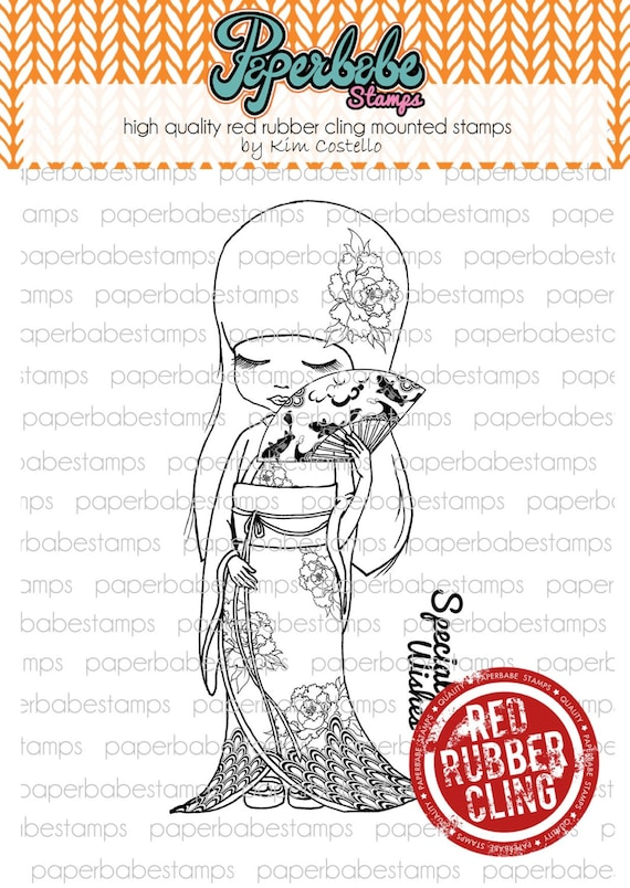 MayLeeDee Kimono Oriental Girl for paper crafting and scrapbooking. Red Rubber Cling Mounted Stamps Paperbabe Stamps