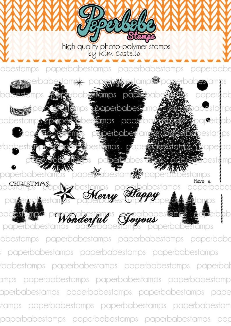 Bottle Brush Tree Stamp Set  Paperbabe Stamps  Clear image 0