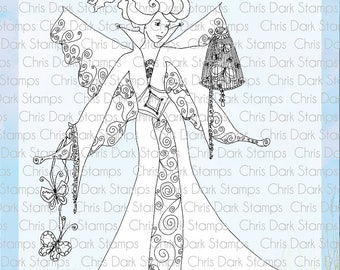 Butterfly Catcher Stamp Set by Chris Dark - Paperbabe Stamps - Clear Photopolymer Stamps - For paper crafting and scrapbooking.