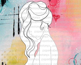 Mixed Media Templates ~ Female Profile Wavy - Paperbabe Stamps - Mylar templates - For mixed media and paper crafting