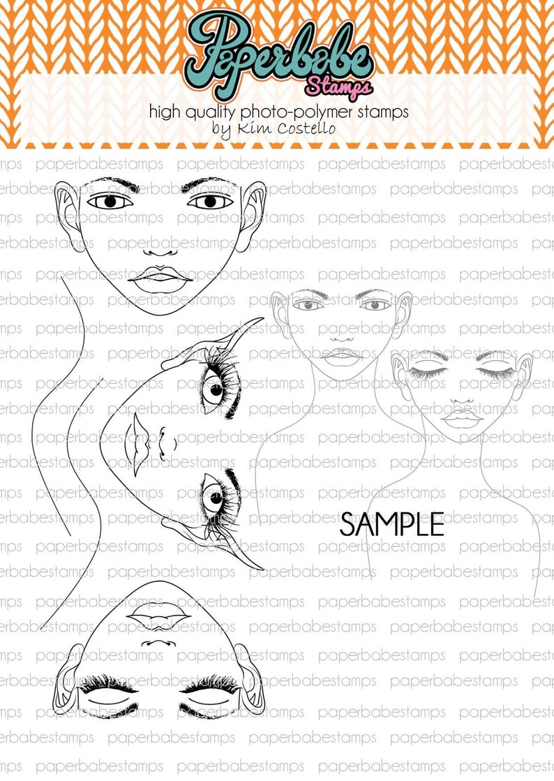 Female Face Dinky Stamp Set  Paperbabe Stamps  Clear Stamp Set only