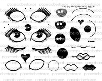 Doll Face Stamp Set - Paperbabe Stamps - Clear Photopolymer Stamps - For paper crafting and scrapbooking.
