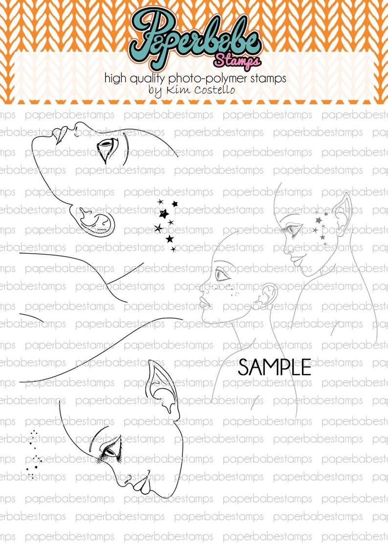 Profile Face Left Dinky Stamp Set  Paperbabe Stamps  Clear image 0