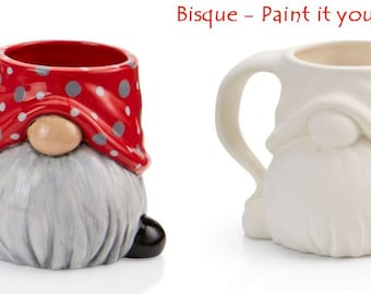Garden Gnome Mug  Bisque DIY  paint your own gnome  unpainted bisque ready to ship