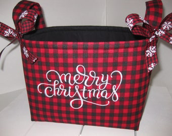 merry christmas embroidered red black buffalo plaid fabric gift basket organizer bin table decor