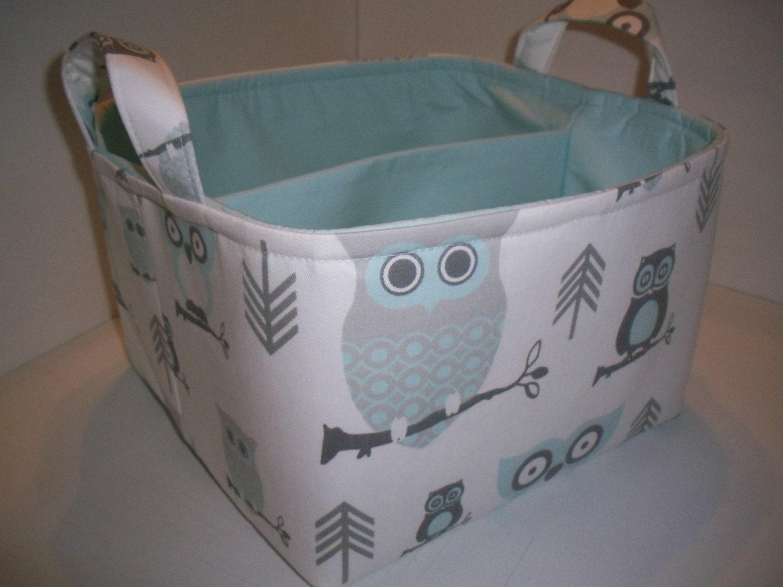 052438606aec Large Diaper Caddy 10 x 10 x 7 / Organizer Bin / Baby Blue Grey Owls