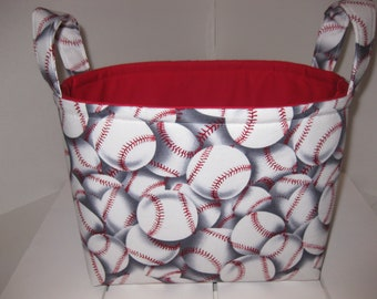 Red White Baseball Fabric Organizer Bin / Basket / Diaper Caddy- Personalization Available- You pick colors