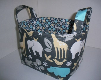 Blue Gray Alexander Henry Zoo Animals Organizer bin / Basket / Small Diaper Caddy