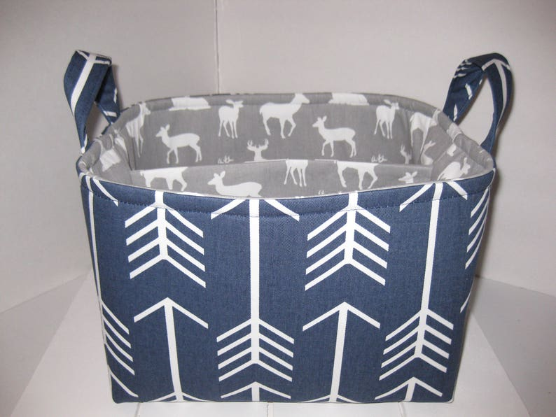 2ebc2fb9fc7e Large Diaper Caddy / Organizer Bin / Navy Arrows Grey White Deer -  Personalization Available