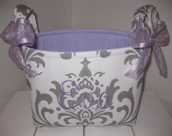White & Grey Damask Lavender Fabric Organizer Bin / Basket - Small Diaper Caddy - Personalization Available