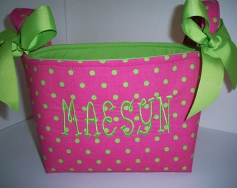 Hot Pink Lime Green Polka Dot Fabric Organizer Bin / Basket / Small Diaper Caddy - Personalization Available