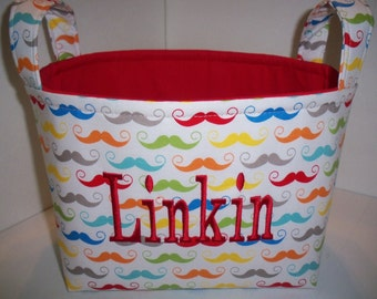 Organizer Bin / Fabric Basket - Silly Fun  Colorful Mustaches- Where's My 'stache- Personalization Available