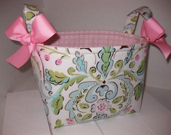 Pink Blue Green Flowers Alexander Henry Love Birds Fabric Organizer Bin / Basket / Small Diaper Caddy - Personalization Available