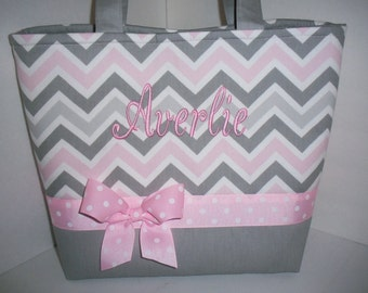 Pink Grey Chevron Diaper Bag / Tote / Purse- Personalization Available