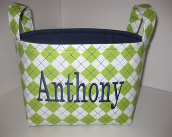 Lime Green Navy Brown Argyle Organizer bin / Basket / Small Diaper Caddy - Personalization Available