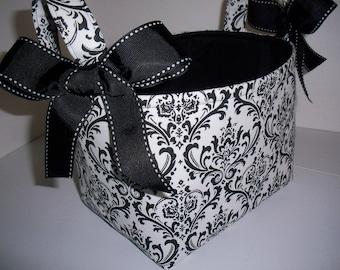 Organizer bin / Fabric Basket Reversible Black White Damask