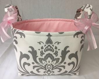 White & Grey Damask Pink Fabric Organizer Bin / Basket - Small Diaper Caddy - Personalization Available