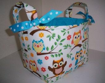 Aqua Blue Orange Brown Owls Fabric Organizer Bin / Basket - Small Diaper Caddy
