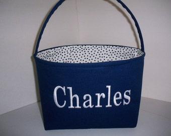 Navy Blue White Polka Dot Fabric Basket