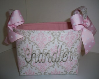 Baby Pink & Grey Taupe Damask Fabric Organizer Bin / Basket - Small Diaper Caddy - Personalization Available