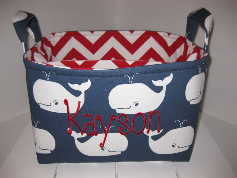Large Diaper Caddy  Organizer Bin  Navy Blue White Whales  Chevron Personalization Available