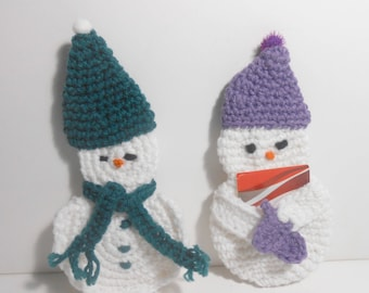 Gift Card Holders, Snowmen Gift Card Holder, Teal and Purple Hats