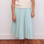 Vintage Mint Green Pleated Skirt - Light Blue Pleated Skirt - Vtg Pleated Midi Skirt - Size Medium/Large - 1960s Skirt - Christmas Gifts