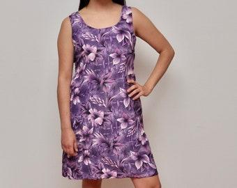 vtg purple floral dress, vintage floral pattern dress, floral print beach coverup, summer fashion, tampa bay artwear, size large