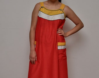 0d2999a8bdf1 Vintage Housedress - Vintage 1960s Housedress - Red White and Yellow  Sleeveless Dress - Vintage Loungewear - Vintage Red Tank Dress