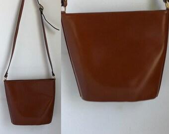 vtg bucket bag, vintage cristian bag, vintage shoulder bag, vintage brown bag, adjustable strap, structured bag, vintage purse, gift for her