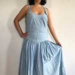Vintage Sleeveless Denim Maxi Dress - Vintage Denim Maxi Dress - Vintage Sleeveless Dress - Vintage Summer Dress - LizWear 1990s Sun Dress