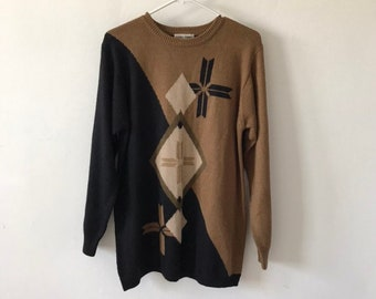 vtg sweater, vintage color block sweater, vintage geometric print sweater, vintage fall sweater, 1980s fashion, brown and black sweater