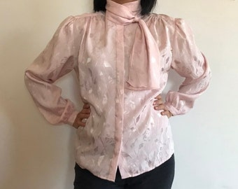 7e8bf14f20ac2 Vintage Pink Long Sleeve Blouse - Vintage Floral Leaf Print Blouse - Vintage  1980s Blouse - Vintage Pink Top - 80s Fashion