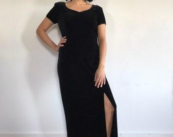 32b00b7baef3 Vintage Black Velvet Dress - Velvet Maxi Dress - Black Maxi Dress - Vintage  Black Velvet Maxi Dress - Robbie Bee Petite - 1990s Fashion