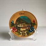 Vintage Wooden Wall Art - Vintage Hand Painted Ettal Painting - Vintage Painted Wooden Dish