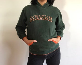 4140ab1b9c Vintage University of Miami Hoodie - Kids Vintage Hooded Sweatshirt - Green  Vintage Sports Sweatshirt - Vintage U Miami Hoodie - Womens XS