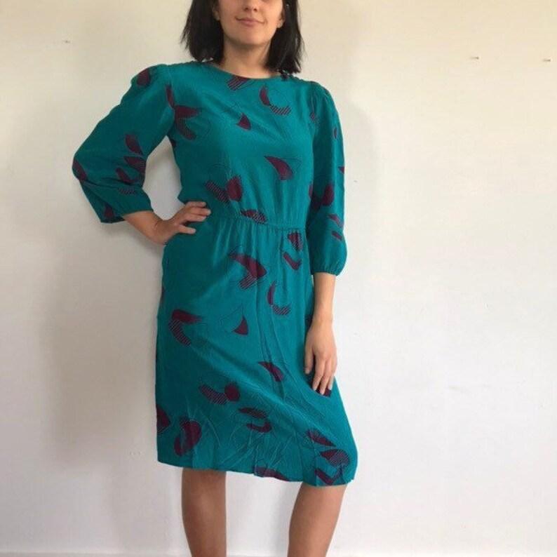 vtg teal silk dress, vintage blue green and magenta abstract pattern dress, vintage silk cocktail dress, size medium, AP Ltd, 100% silk