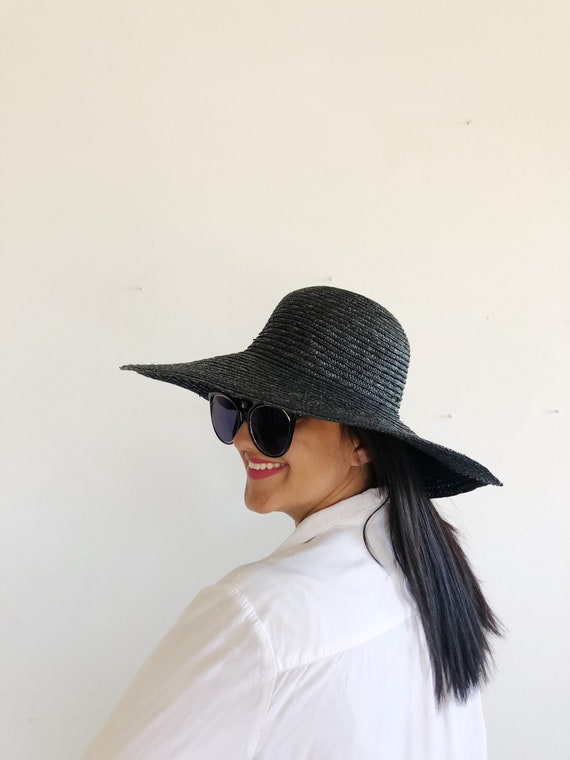 vtg wide brim sun hat, vintage black hat, vintage