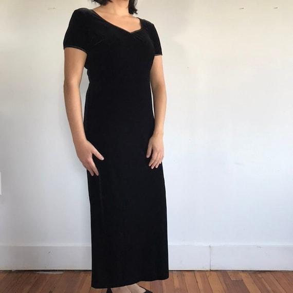vtg black velvet dress, velvet maxi dress, black … - image 4