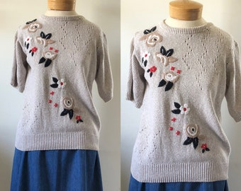 vtg sweater, vintage floral sweater, vintage short sleeve sweater, alfred dunner, 1980s sweater, fall sweater, spring sweater, flower blouse