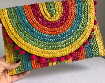 vintage tropical clutch, vintage 80s clutch, vintage vacation purse, vintage straw bag, rainbow bag, rainbow purse, jungalow accessories