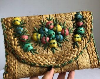 vintage tropical clutch, vintage 60s clutch, vintage vacation purse, vintage straw bag, shell bag, seashell purse, jungalow accessories