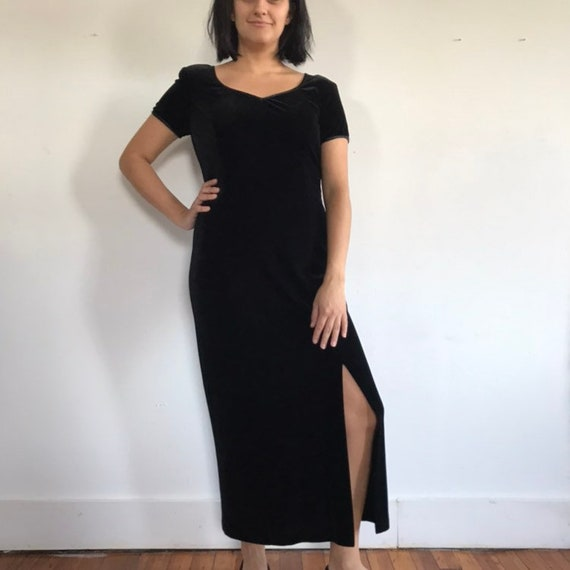 vtg black velvet dress, velvet maxi dress, black … - image 1