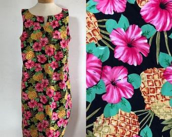 vtg tropical dress, vintage floral dress, vintage tank dress, vintage sleeveless dress, vintage vacation dress, plus size tropical dress