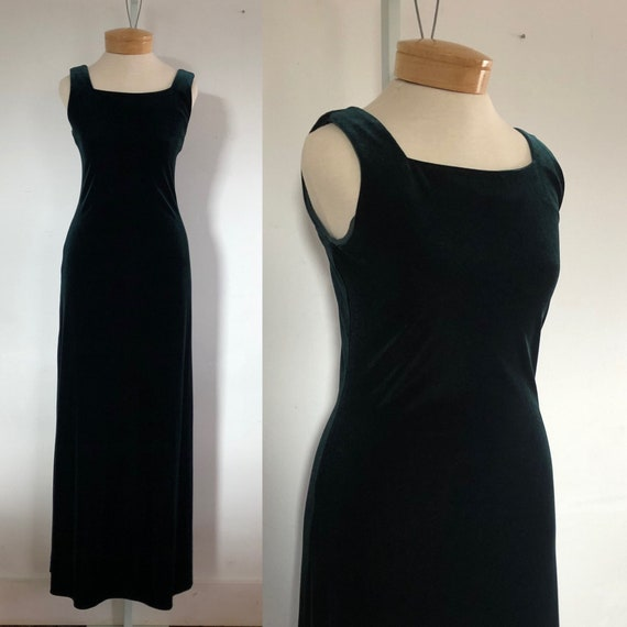 vtg dress, vintage green dress, vintage maxi dres… - image 1
