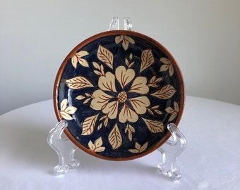 vintage trinket bowl, vintage blue floral dish, vintage floral bowl, vintage trinket dish, decorative dish, beige floral bowl, jungalow art