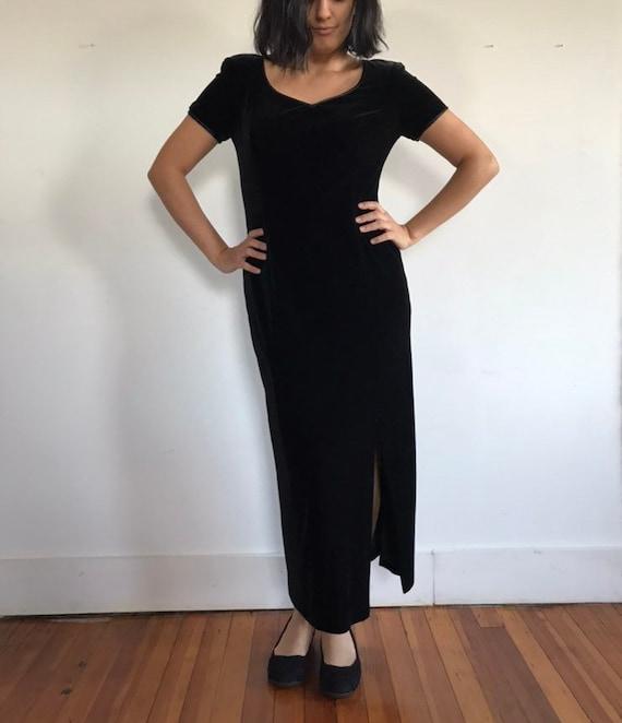 vtg black velvet dress, velvet maxi dress, black … - image 7