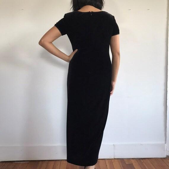 vtg black velvet dress, velvet maxi dress, black … - image 9